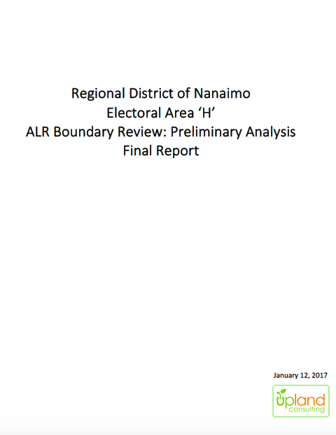 Regional District of Nanaimo Electoral Area 'H' ALR Boundary Review: Preliminary Analysis